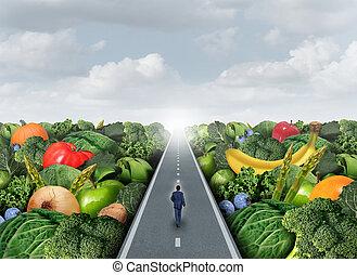 saudável, caminho, comer