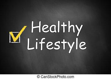 saudável, checkbox, estilo vida, chalkboard, marcado