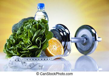 saudável, conceito, estilo vida, vitaminas