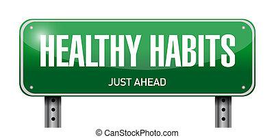 saudável, conceito, hábitos, sinal estrada