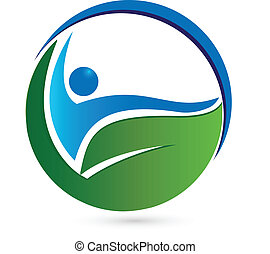 saudável, conceito, logotipo