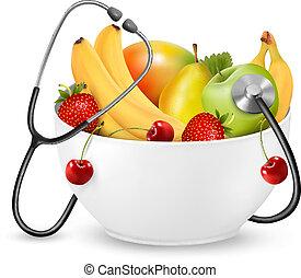 saudável, concept., dieta, fruta, vector., stethoscope.