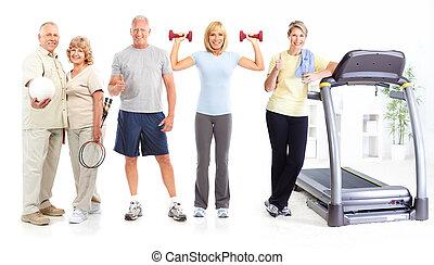 saudável, condicão física, ginásio, estilo vida