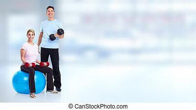 saudável, condicão física, par., jovem
