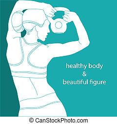 saudável, corpo bonito, figura, &