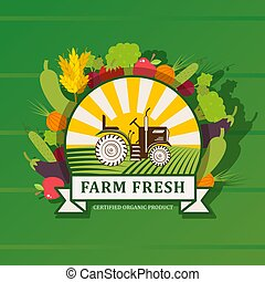 saudável, crescido, vetorial, illustration., fresco, local, orgânica, natural, produto, fazenda, gráfico, emblema, etiqueta, field., trator, legumes, agricultores, terra cultivada, alimento