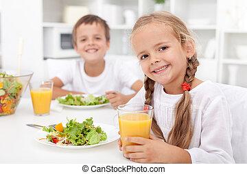 saudável, crianças comendo, refeição