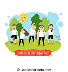 saudável, crianças, estilo vida, ilustração
