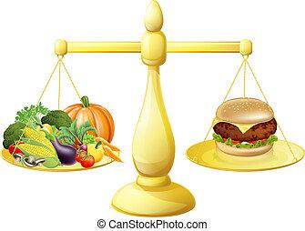 saudável, decisão, comer, dieta
