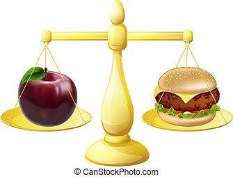 saudável, decisão, comer, escalas