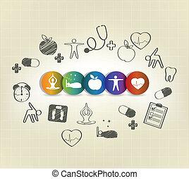 saudável, desenhado, mão, vivendo