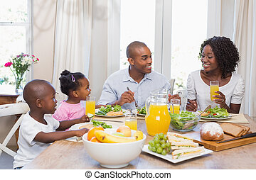 saudável, desfrutando, mea, família, feliz