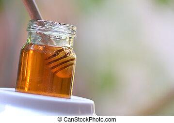 saudável, doce jarro, cima, /, mel, alimento, mergulhador, amarela, fim, madeira