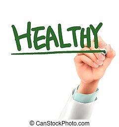 saudável, doutor, palavra, escrita