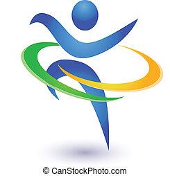 saudável, e, feliz, logotipo, vetorial