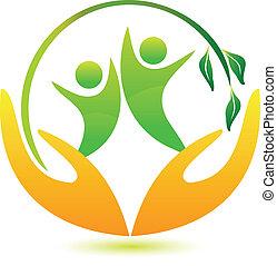saudável, e, feliz, pessoas, logotipo