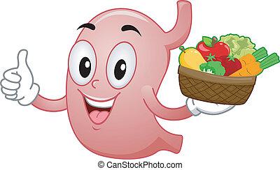 saudável, estômago, mascote