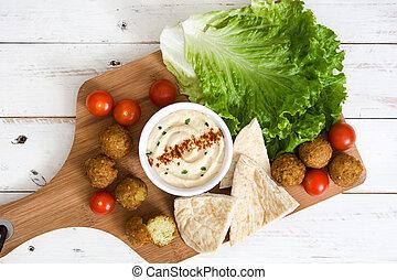 saudável, falafel, com, hummus