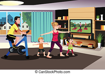saudável, família, exercitar, junto