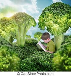 saudável, filho lê livro, em, verde, brócolos, paisagem