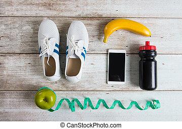 saudável, foto, executando, conceito