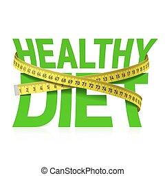 saudável, frase, medindo, dieta