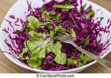 saudável, fresco, alimento, salada