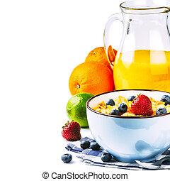 saudável, fresco, cereais, frutas