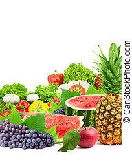 saudável, fresco, legumes, coloridos, frutas