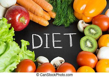 saudável, fresco, legumes, frutas