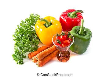 saudável, fresco, legumes, frutas, coloridos