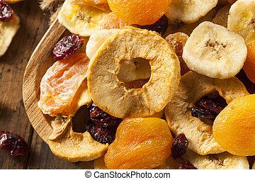 saudável, fruta, orgânica, secado, sortido