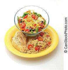 saudável, galinha, refeição