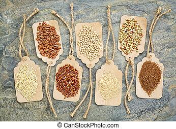 saudável, gluten, livre, grãos