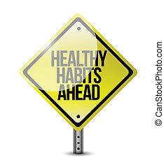 saudável, hábitos, sinal estrada, ilustração, desenho