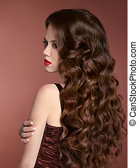 saudável, hair., ondulado, hairstyle., beleza, menina, moda, portrait., bonito, mulher jovem, com, longo, cacheados, cabelos