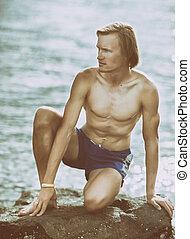 saudável, homem, mar, condicão física