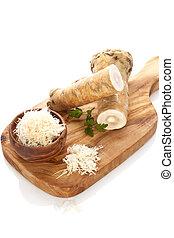 saudável, horseradish, ligado, tábua cortante