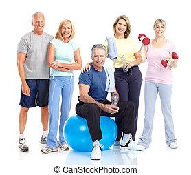 saudável, idoso, pessoas.
