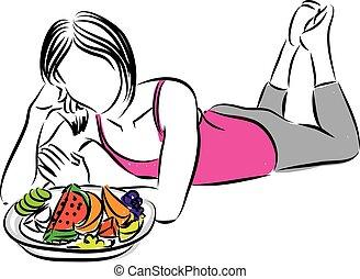 saudável, illustr, comer mulher, frutas