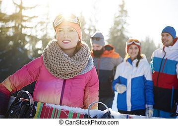 saudável, imagem, estilo vida, snowboarders, feliz