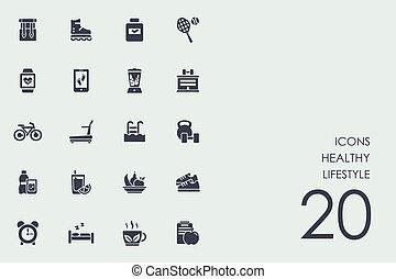 saudável, jogo, estilo vida, ícones