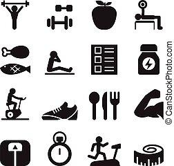 saudável, &, jogo, exercício, ícones