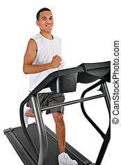 saudável, jovem, americano africano, executando, em, treadmill