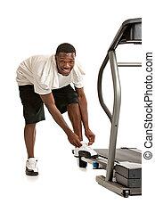 saudável, jovem, americano africano, prepare, por, treadmill