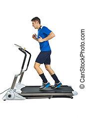 saudável, jovem, caucasiano, executando, em, treadmill, branco, fundo