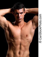 saudável, jovem, muscular, homem