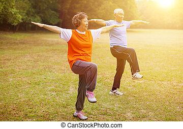 saudável, junte pôr-do-sol, fundo, condicão física, sênior