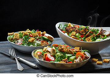 saudável, legumes, alimento, assado, galinha fresca