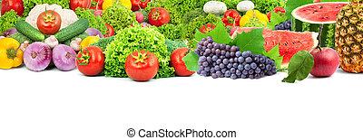 saudável, legumes frescos, coloridos, frutas